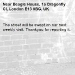 The street will be swept on our next weekly visit. Thankyou for reporting it.-Beagle House, 1a Dragonfly Cl, London E13 9BG, UK