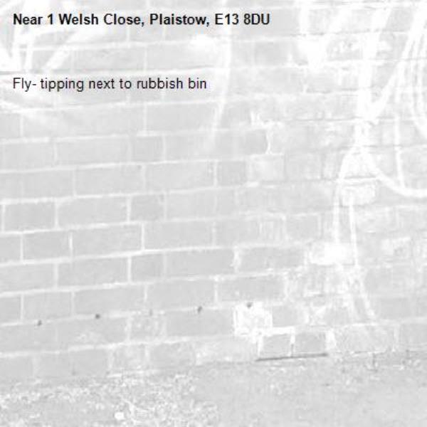 Fly- tipping next to rubbish bin-1 Welsh Close, Plaistow, E13 8DU