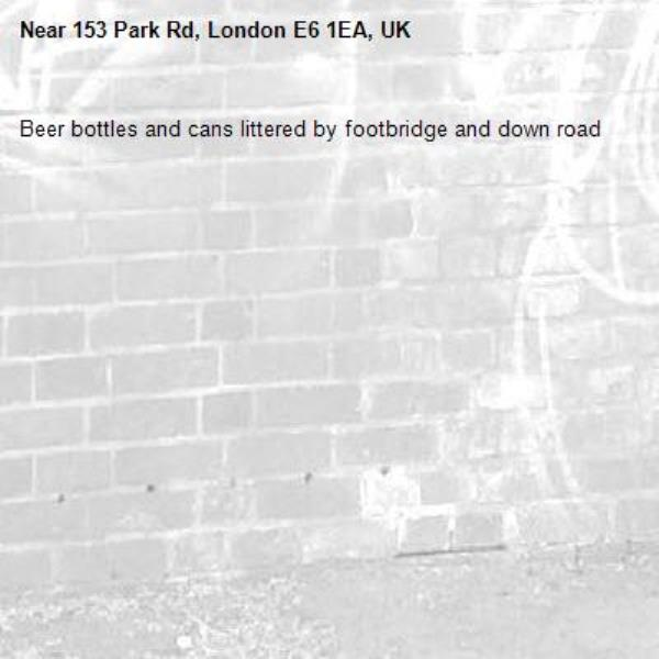 Beer bottles and cans littered by footbridge and down road -153 Park Rd, London E6 1EA, UK
