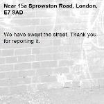 We have swept the street. Thank you for reporting it.-15a Sprowston Road, London, E7 9AD
