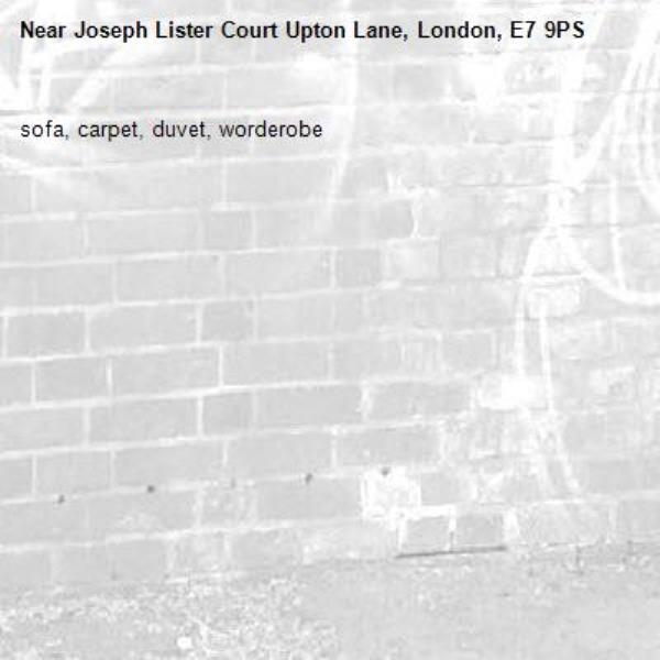 sofa, carpet, duvet, worderobe-Joseph Lister Court Upton Lane, London, E7 9PS