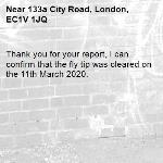 Thank you for your report, I can confirm that the fly tip was cleared on the 11th March 2020.
