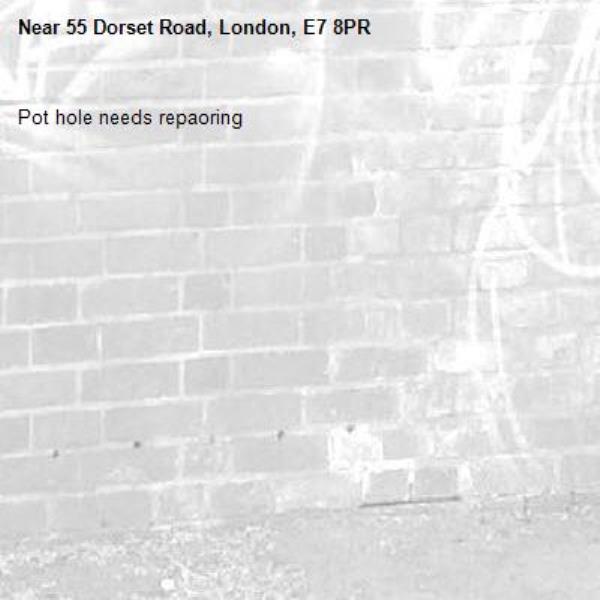 Pot hole needs repaoring-55 Dorset Road, London, E7 8PR