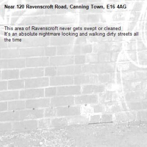 This area of Ravenscroft never gets swept or cleaned It's an absolute nightmare looking and walking dirty streets all the time -120 Ravenscroft Road, Canning Town, E16 4AG