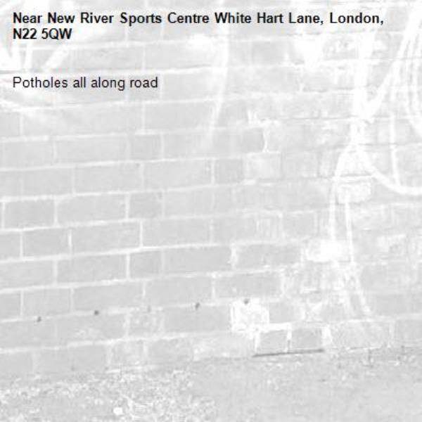Potholes all along road -New River Sports Centre White Hart Lane, London, N22 5QW
