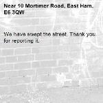 We have swept the street. Thank you for reporting it.-10 Mortimer Road, East Ham, E6 3QW