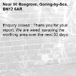 Enquiry closed : Thank you for your report. We are weed  spraying the worthing area over the next 30 days-90 Boxgrove, Goring-by-Sea, BN12 6AR