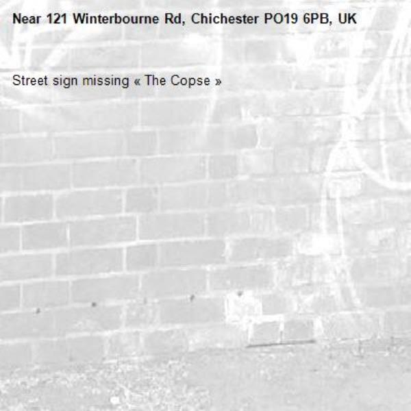 Street sign missing «The Copse»-121 Winterbourne Rd, Chichester PO19 6PB, UK