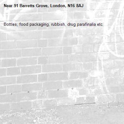 Bottles, food packaging, rubbish, drug parafinalia etc   -91 Barretts Grove, London, N16 8AJ