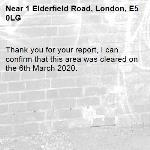 Thank you for your report, I can confirm that this area was cleared on the 6th March 2020. -1 Elderfield Road, London, E5 0LG