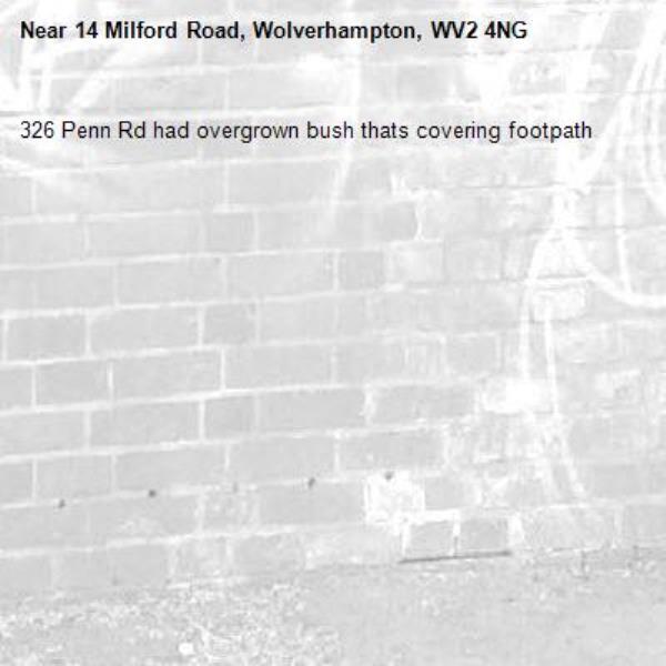 326 Penn Rd had overgrown bush thats covering footpath-14 Milford Road, Wolverhampton, WV2 4NG