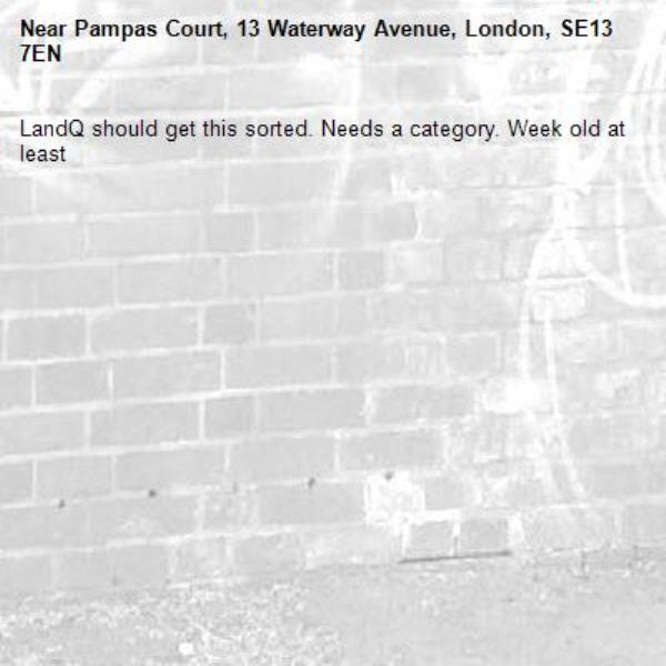LandQ should get this sorted. Needs a category. Week old at least -Pampas Court, 13 Waterway Avenue, London, SE13 7EN