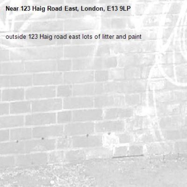 outside 123 Haig road east lots of litter and paint-123 Haig Road East, London, E13 9LP