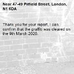 Thank you for your report, I can confirm that the graffiti was cleared on the 9th March 2020.-47-49 Pitfield Street, London, N1 6DA
