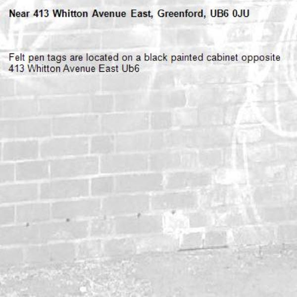 Felt pen tags are located on a black painted cabinet opposite 413 Whitton Avenue East Ub6 -413 Whitton Avenue East, Greenford, UB6 0JU