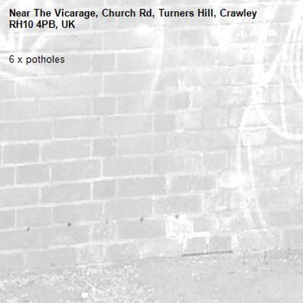 6 x potholes-The Vicarage, Church Rd, Turners Hill, Crawley RH10 4PB, UK