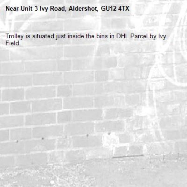 Trolley is situated just inside the bins in DHL Parcel by Ivy Field.-Unit 3 Ivy Road, Aldershot, GU12 4TX
