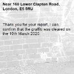 Thank you for your report, I can confirm that the graffiti was cleared on the 10th March 2020.