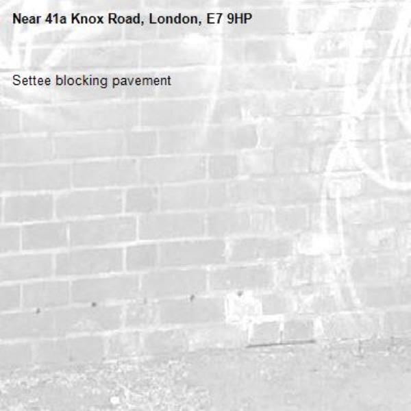 Settee blocking pavement-41a Knox Road, London, E7 9HP