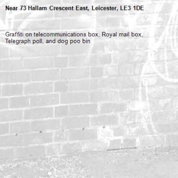 Graffiti on telecommunications box, Royal mail box, Telegraph poll, and dog poo bin-73 Hallam Crescent East, Leicester, LE3 1DE