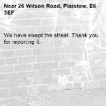 We have swept the street. Thank you for reporting it.-26 Wilson Road, Plaistow, E6 3EF