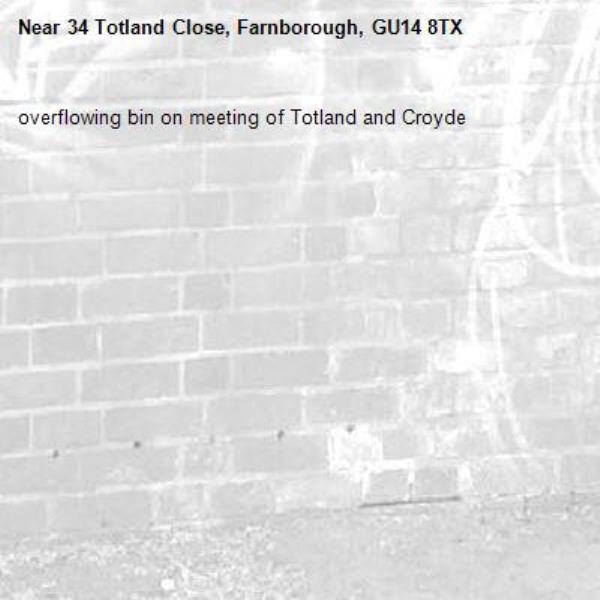 overflowing bin on meeting of Totland and Croyde-34 Totland Close, Farnborough, GU14 8TX
