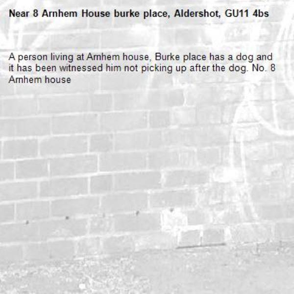 A person living at Arnhem house, Burke place has a dog and it has been witnessed him not picking up after the dog. No. 8 Arnhem house -8 Arnhem House burke place, Aldershot, GU11 4bs