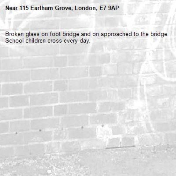Broken glass on foot bridge and on approached to the bridge. School children cross every day. -115 Earlham Grove, London, E7 9AP