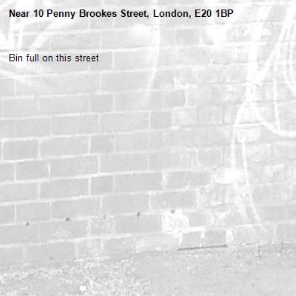 Bin full on this street-10 Penny Brookes Street, London, E20 1BP