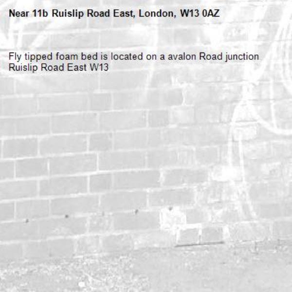 Fly tipped foam bed is located on a avalon Road junction Ruislip Road East W13-11b Ruislip Road East, London, W13 0AZ