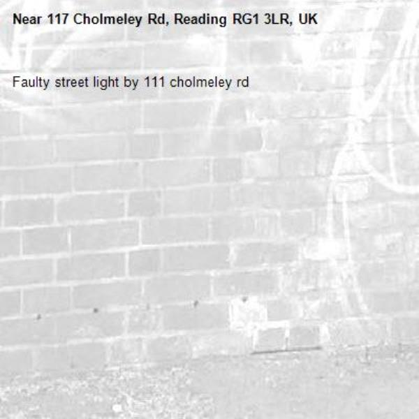 Faulty street light by 111 cholmeley rd-117 Cholmeley Rd, Reading RG1 3LR, UK