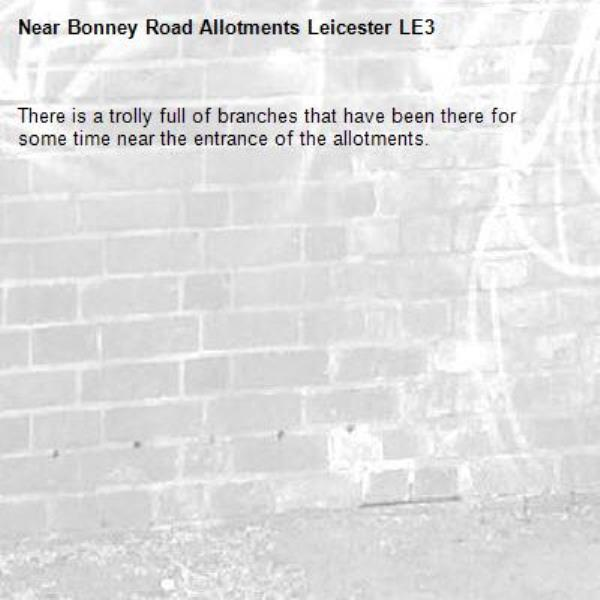 There is a trolly full of branches that have been there for some time near the entrance of the allotments. -Bonney Road Allotments Leicester LE3