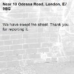 We have swept the street. Thank you for reporting it.-10 Odessa Road, London, E7 9BG