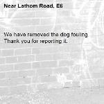 We have removed the dog fouling. Thank you for reporting it.-Lathom Road, E6