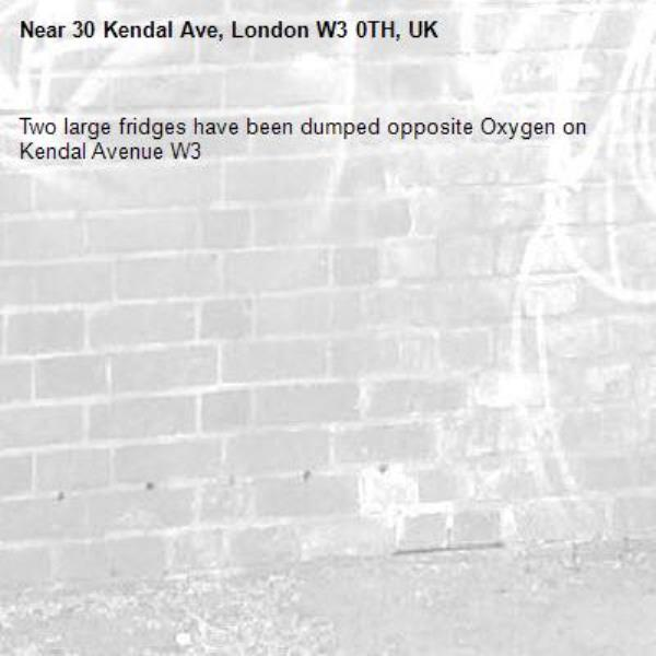 Two large fridges have been dumped opposite Oxygen on Kendal Avenue W3-30 Kendal Ave, London W3 0TH, UK
