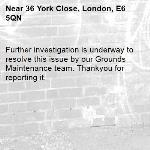 Further investigation is underway to resolve this issue by our Grounds Maintenance team. Thankyou for reporting it.-36 York Close, London, E6 5QN