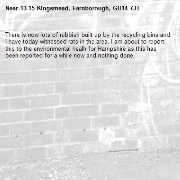 There is now lots of rubbish built up by the recycling bins and I have today witnessed rats in the area. I am about to report this to the environmental healh for Hampshire as this has been reported for a while now and nothing done. -13-15 Kingsmead, Farnborough, GU14 7JT