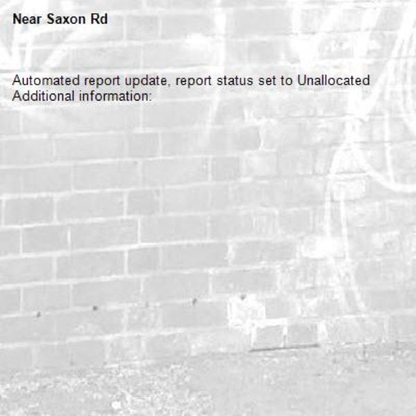 Automated report update, report status set to Unallocated Additional information:  -Saxon Rd