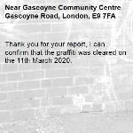 Thank you for your report, I can confirm that the graffiti was cleared on the 11th March 2020.-Gascoyne Community Centre Gascoyne Road, London, E9 7FA