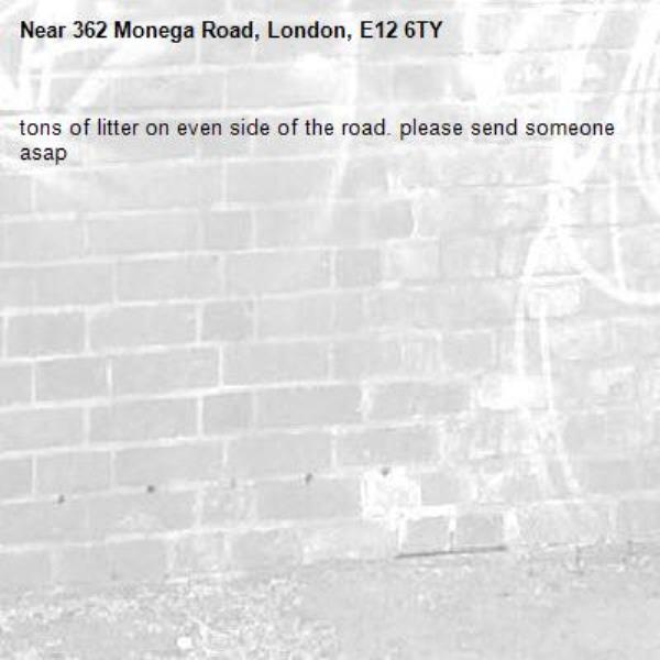 tons of litter on even side of the road. please send someone asap-362 Monega Road, London, E12 6TY
