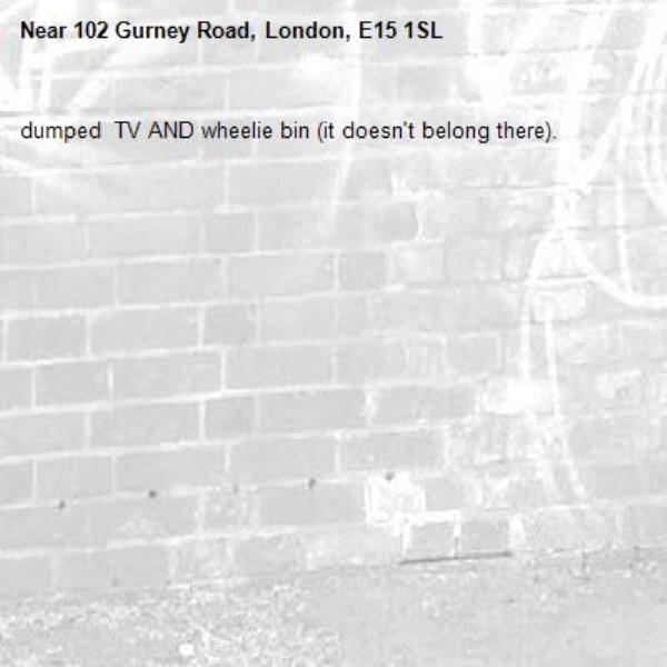 dumped  TV AND wheelie bin (it doesn't belong there). -102 Gurney Road, London, E15 1SL