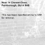This has been reported online to SEE for removal.-14 Cheviot Close, Farnborough, GU14 9HS