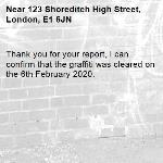 Thank you for your report, I can confirm that the graffiti was cleared on the 6th February 2020.-123 Shoreditch High Street, London, E1 6JN