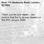 Thank you for your report, I can confirm that the fly tip was cleared on the 24th January 2020.-119 Daubeney Road, London, E5 0EQ