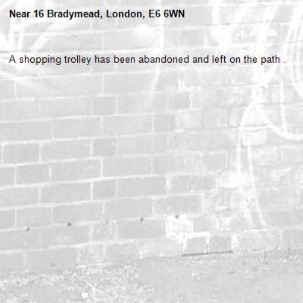 A shopping trolley has been abandoned and left on the path .-16 Bradymead, London, E6 6WN