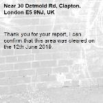 Thank you for your report, I can confirm that this area was cleared on the 12th June 2019.