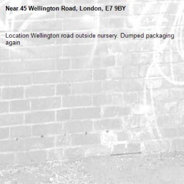 Location Wellington road outside nursery. Dumped packaging again-45 Wellington Road, London, E7 9BY