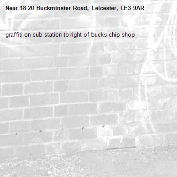 graffiti on sub station to right of bucks chip shop-18-20 Buckminster Road, Leicester, LE3 9AR