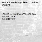 Logged for leisure services to deal with the issue.   Ref: C132947-4 Stonebridge Road, London, N15 5PF
