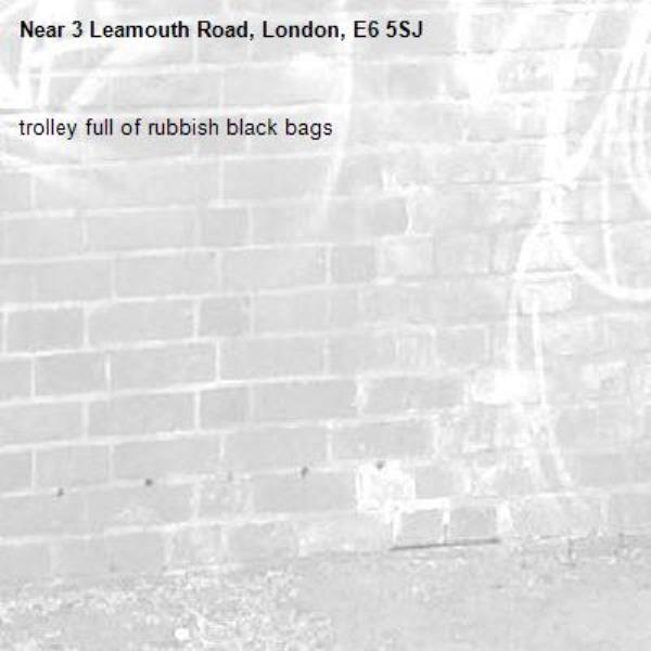trolley full of rubbish black bags-3 Leamouth Road, London, E6 5SJ